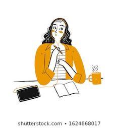 Stock Photo and Image Portfolio by Huza Studio   Shutterstock People Illustration, Photo Illustration, Digital Illustration, Vector Design, Vector Art, Design Templates, Girl Thinking, Coffee Vector, Cute Girls