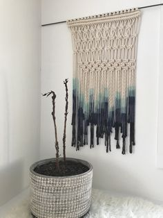 Indigo dip dyed macrame wall hanging. I love decorating walls with a mix of art, pictures, and TEXTURE! From www.etsy.com/cottontangles