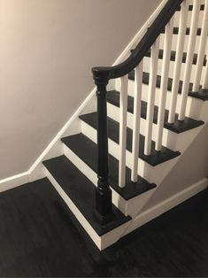 Home Remodeling Tools Black And White Stairs, White Staircase, House Staircase, Staircase Remodel, Staircase Design, Staircase Ideas, Black Painted Stairs, Grand Staircase, Interior Wood Stain