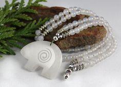 Mala Beads with Spirit Bear - Ani-Mala Bead Necklace - Animal Mala Beads - Meditation - 108 Mala Beads - Bear Totem
