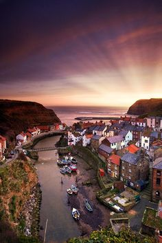 Sunset Staithes, Yorkshire, England. Get there on a cheap business class flight @ flymebusiness.com!