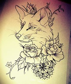 Fox, roses, volpe, tattoo, rose - made by Taty Tattoo