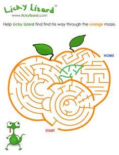 Help Licky Lizard find find his way through the orange maze. #brainbreak #printables