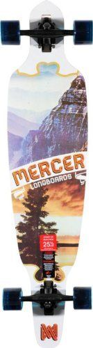 """Mercer Levity 41 Drop Through Longboard Complete by MERCER. $169.95. The Mercer Levity 41"""" longboard complete is exactly what you need for extremely fast times and super smooth lines! The Mercer Levity 41"""" Drop Through longboard complete features a custom """"Mercer Longboards"""" mountain and tree bottom graphic, a super sturdy, concave heavy 7-ply maple construction for major durability, Compound 10"""" reverse trucks in the matte black colorway for extraordinary turns, and 6..."""
