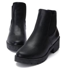 Fashion Black Leather Slip On Elastic Square Heel Martin Boots ($15) ❤ liked on Polyvore featuring shoes, boots, round toe boots, black slip-on shoes, low heel leather boots, faux-leather boots and synthetic leather boots