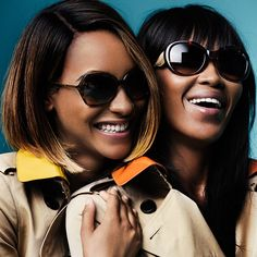 New season Burberry eyewear from The Gabardine Collection, worn by British models Naomi Campbell and Jourdan Dunn