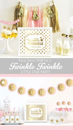 Twinkle Twinkle Little Star Sign for a Twinkle Twinkle Baby Shower or Twinkle Twinkle Birthday Party Theme - by Mod Party