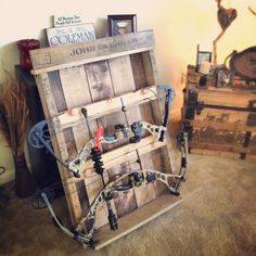 DIY Bow rack hubby made this yesterday! Crossbow Hunting, Hunting Gear, Hunting Stuff, Diy Crossbow, Crossbow Arrows, Hunting Cabin, Deer Hunting, Archery Hunting, Hoyt Archery