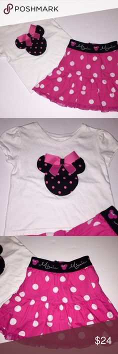 Boutique Minnie Mouse Outfit size 18 months EUC Adorable Minnie mouse matching outfit. Top is custom-made and skirt is by Disney. The top is a size 18 months & skirt a size 24 months. Too cute to resist. Excellent condition Disney Matching Sets