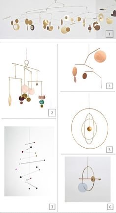 Mobile Volabile Or // Christel Sadde RENATA MOBILE MIX // Sibilia RENILDE MOBILE – Handmade mobile by Belgian artist Renilde de Peuter // Fine Little Day CÉLESTE MOBILE – MIRROR POLISHED – LARGE // DShop GALAXY GLOBE LARGE // Kaja Skytte PLAYSCAPE MOBILE – GLASS CIRCLE // Ladies and Gentlemen Studio