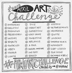 30-day art challenge! the April Art Challenge 2018 hosted by artist Roxanne Coble (aka BY BUN)