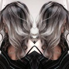 dark brown hair with silver highlights - Google'da Ara