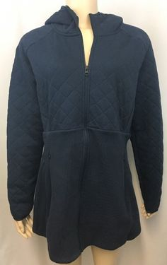 The North Face Jacket XL Womens Caroluna Tunic Length Quilted Hooded Blue #TheNorthFace #QuiltedHoodedJacket #Outdoor