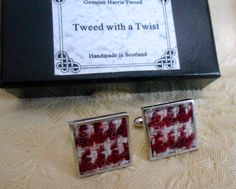 Harris Tweed cuff links mens Scottish made in Scotland clothing accessories cufflinks fathers day for him groomsman gift silver square by TweedwithaTwist on Etsy https://www.etsy.com/uk/listing/239262113/harris-tweed-cuff-links-mens-scottish