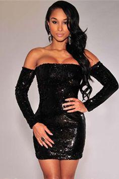 Black Sequins Off-the-shoulder Club Dress