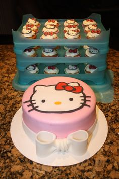 Hello Kitty cake and cupcakes // Cs bday cake idea