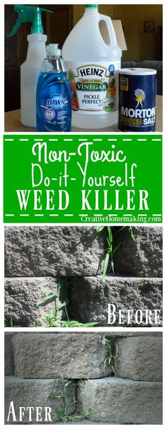 How to make an inexpensive non-toxic homemade weed killer to control weeds in your garden.