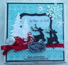 Une création de Sarah Dufresne pour illustrer le défi #5 du crop-en-ligne Boitatou 2014. Noel Christmas, Christmas Cards, Narnia, Creations, Scrapbooking, Frame, Decor, Xmas, Beautiful Gifts
