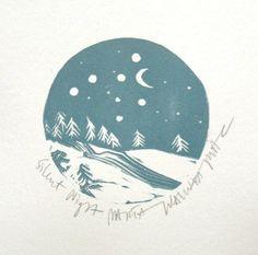 Silent night Linocut print by Marta Wakula Mac by irishprintmakers