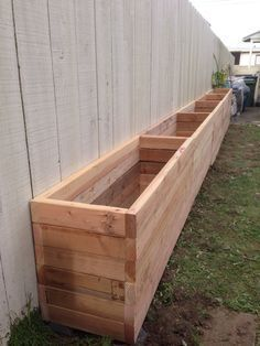 2x4 planter box                                                                                                                                                                                 More Backyard Planters, Outdoor Planter Boxes, Fence Planters, Raised Planter Boxes, Raised Garden Planters, Garden Planter Boxes, Diy Wood Planters, Diy Garden Box, Tree Planters