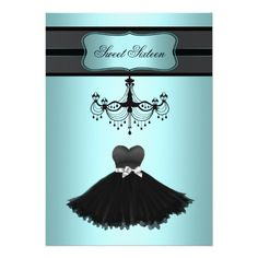 Teal Blue Chandelier Sweet Sixteen Birthday Party Invite