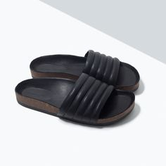 ZARA - SHOES & BAGS - QUILTED WIDE STRAP SANDALS WITH FOOTBED