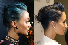 Celebrity Hair Transformations 2014 - Drastic Hair Changes - Elle: Nicole Richie  Nicole Richie has spent much of the year rocking a rainbow of hair hues, from pastel purple to most recently, a teal blue. Now, she's gone her darkest shade yet: midnight blue. Could black be next?