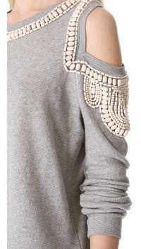 sass & bide The Fortified Embellished Sweatshirt Fashion Details, Diy Fashion, Fashion Outfits, Womens Fashion, Diy Vetement, Diy Mode, Altered Couture, Diy Clothing, Refashion
