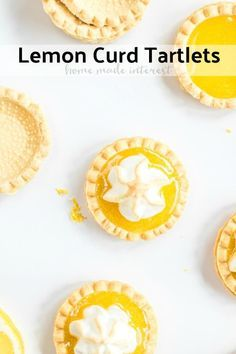 These easy Lemon Curd Tartlets are flaky, mini pastry tart shells filled with homemade lemon curd and topped with meringue that is lightly toasted. Lemon Curd Tartlets, Lemon Curd Dessert, Mini Lemon Tarts, Mini Tartlets, Easy Lemon Curd, Lemon Curd Recipe, Mini Pies, Lemon Bars, Recipes With Lemon Curd