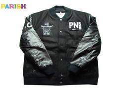 【PARISH】【パリッシュ】PUレザー+ウール VERSITYジャケット ブラック サイズ2XL 【アウター】【black】【jacket】【上着】【B系】【zip-up】【合皮】【フェイクレザー】【ビッグサイズ】【ヒップホップ】【送料無料】【あす楽】【楽天市場】