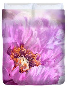 Radiant Orchid Peony designer duvet cover in king, queen, full, and twin sizes. Design also available in matching pillows and fine art print. Featuring the art of Carol Cavalaris.