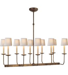 Visual Comfort SL5863HAB E.F. Chapman Branched 10 Light 36 inch Hand-Rubbed Antique Brass Linear Pendant Ceiling Light in (None) photo