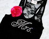 Mrs Rhinestone Lace Tank Top Crystal Bride Shirt