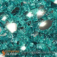 "Starfire Glass® 10-Pound ""Fire Glass"" 1/2-Inch Caribbean Blue **Reflective**"