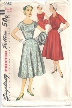 Vintage Simplicity Pattern 1062, Misses 1950s dress and bolero