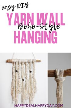 Simple Yarn Wall Hanging Tutorial - learn how to make a boho style wall hanging with driftwood, yarn and wooden beads! Diy Home Decor Projects, Cool Diy Projects, Yarn Wall Hanging, Wall Hangings, Diy Apartment Decor, Repurposed Items, Lion Brand Yarn, Bead Crochet, Spring Crafts