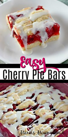 Cherry Desserts, Cherry Recipes, Easy Desserts, Delicious Desserts, Eggless Desserts, Cherry Pie Bars, Canning Cherry Pie Filling, Fruit Bars, Cheesecake Desserts