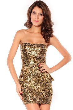 Foil Bandeau Package Hip Dress