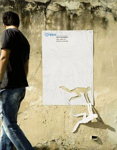 Inventive little poster for suicide prevention. Spanish designers always think in a totally different direction than any European designer.