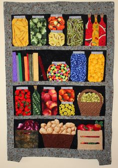 Stitchnquilt: Canning Cupboard is Complete Colchas Quilting, Machine Quilting, Quilting Projects, Quilting Designs, Quilting Ideas, Patch Quilt, Applique Quilts, Quilt Blocks, I Spy Quilt