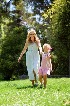 A mom wearing The Katie Midi Dress in mint while frolicking in the grass withe her daughter. Breastfeeding Dress, Breastfeeding And Pumping, Maternity Style, Maternity Fashion, Nursing Wear, Stylish Outfits, Grass, Fashion Dresses, Daughter