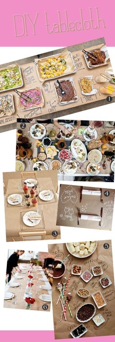 Brown paper as table cloth, cute for BBQ meals. I especially like the top photo of the foil pans set buffet style!
