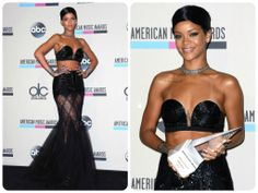 Rihanna looked flawless in this sexy two-piece at the American Music Awards.