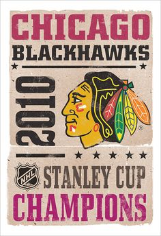 Chicago Blackhawks - Stanley Cup Poster - 13x19 - Boys room Man Cave sports decor