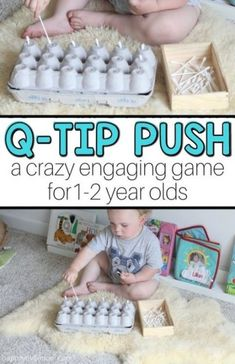 Q-tip Push: A Fun Baby Activity - baby aktivitäten - Baby Activities Activities For 1 Year Olds, Toddler Learning Activities, Games For Toddlers, Baby Learning, Montessori Activities, Infant Activities, Fun Activities, Montessori Toddler, Diy Sensory Toys For 1 Year Old