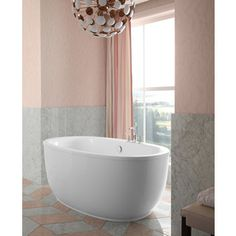 KOHLER Sunstruck White Acrylic Oval Freestanding Bathtub with Center Drain (Common: 36-in x 66-in; Actual: 25.75-in x 36-in x 66-in) Item # 645094 Model # 6369-0