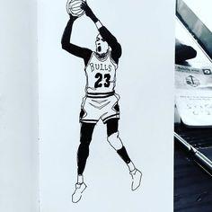 Work copyright  Andrew Oyl Miller oylmiller@gmail.com Society6 Shop - Instagram - Facebook GOAT Mondays. #jordan #bulls #art #illustration #blackandwhite #instaartist #oylmiller #nba #sports #drawing