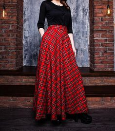 Red plaid maxi skirt with pockets .Classic and timeless plaid print it can be easily matches with many different styles. Half Circle Maxi Skirt.  Fabric: 15% wool, 40% viscose, 45% poliester. For Autumn/Winter Season.  Full standart length (from waist to hem) - 41'' / 105 cm ( but you