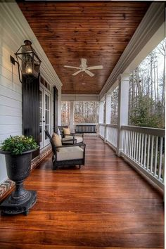 Traditional Porch with Bellawood Select Patagonian Rosewood, Exterior paint, Transom window, Wrap around porch, French doors.love for the wrap around porch Farmhouse Front Porches, Modern Farmhouse Exterior, Rustic Farmhouse, Farmhouse Ideas, Farmhouse Interior, Southern Porches, Farmhouse Style, Screened Porches, Covered Porches