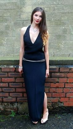 8621d8227b2 1980s Vintage Istante Couture (Versace) Black Halterneck Dress Size 10